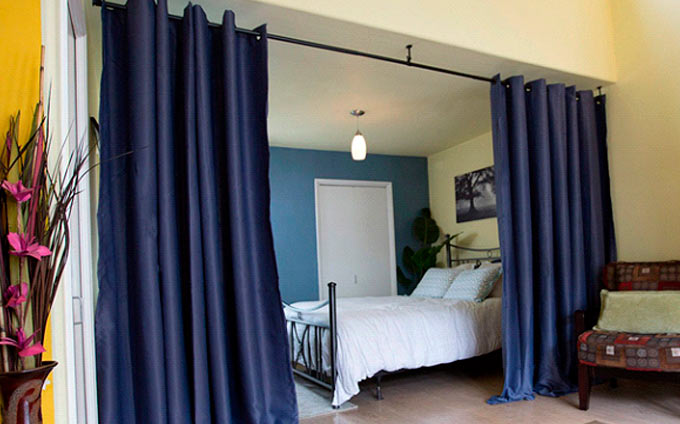 curtain to separate your bedroom from the rest of the living space