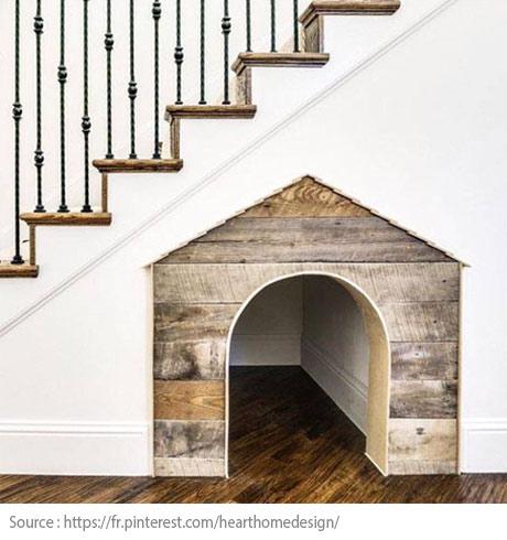 Sous l'escalier : la niche