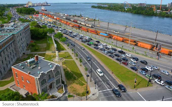 Bouchon de circulation à Montréal