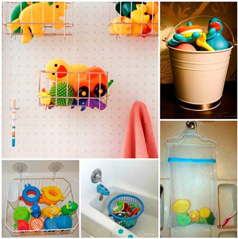 Rangements pour jouets dans la salle de bain