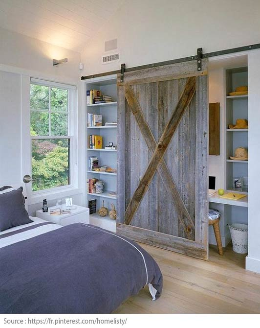 A barn door to conceal an office