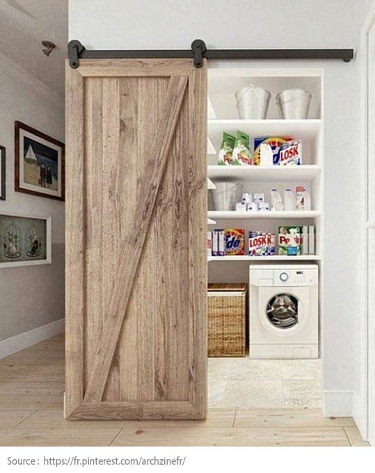 A barn door for the laundry room