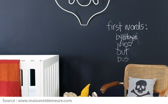 Chalkboard wall in a child's room