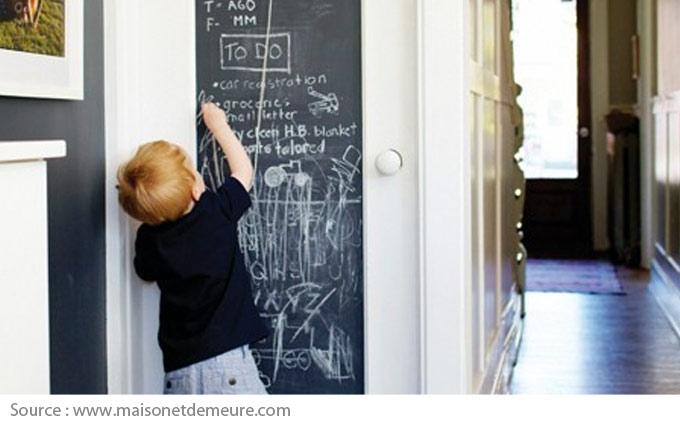 Chalkboard paint on a door