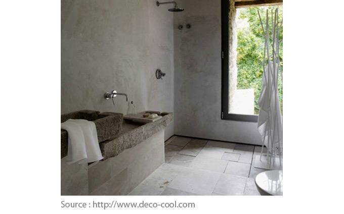 Sols pour la salle de bain - Le béton et la pierre