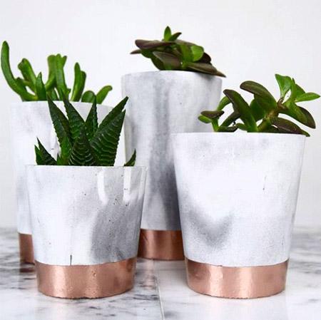 Pots à fleurs effet marbre