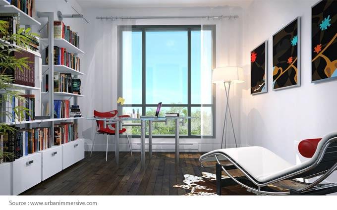 Bureau à domicile avec une fenêtre