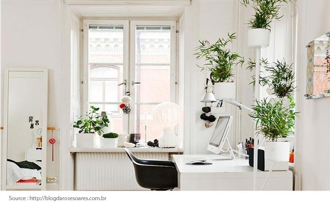 Bureau à domicile avec une touche de verdure