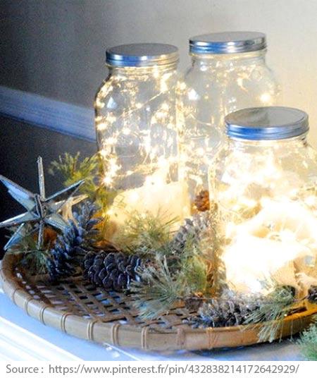 Mason jars with lefover Christmas lights