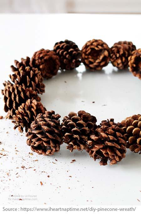 Elegant wreath made of pine cones