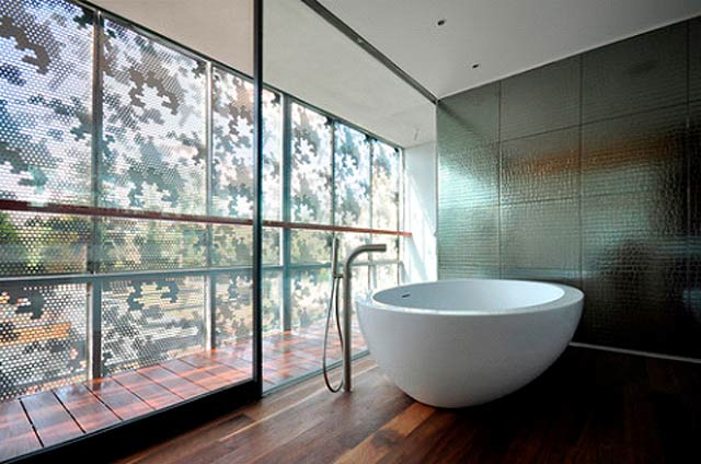 Large scale bathroom tiles