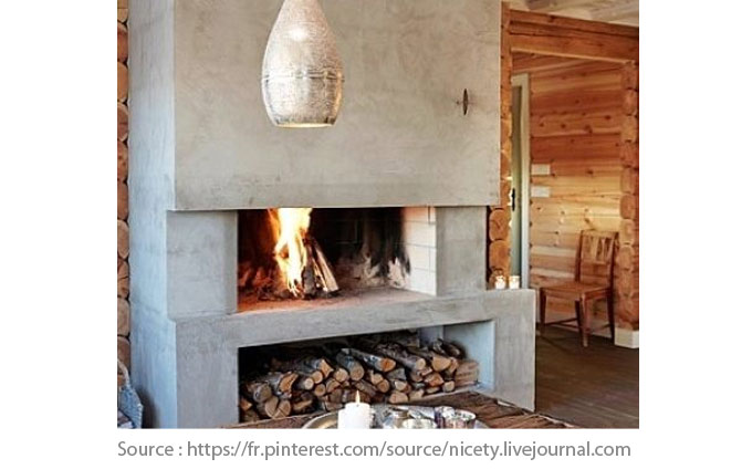 Half-country, half-contemporary fireplace