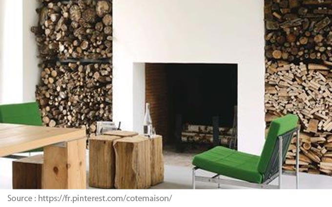 Fireplace with two eye-catching storage areas