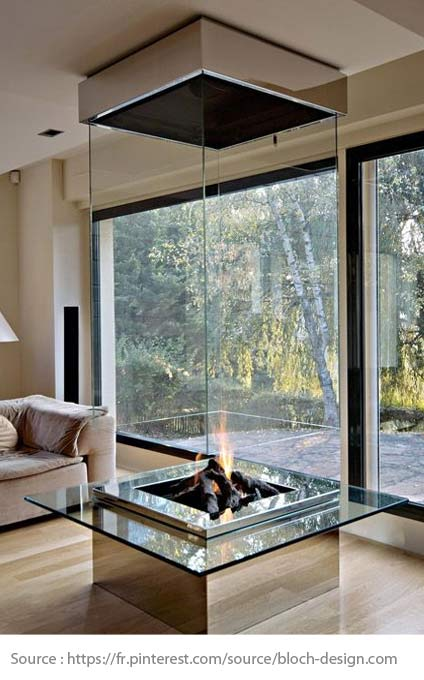 All-glass fireplace