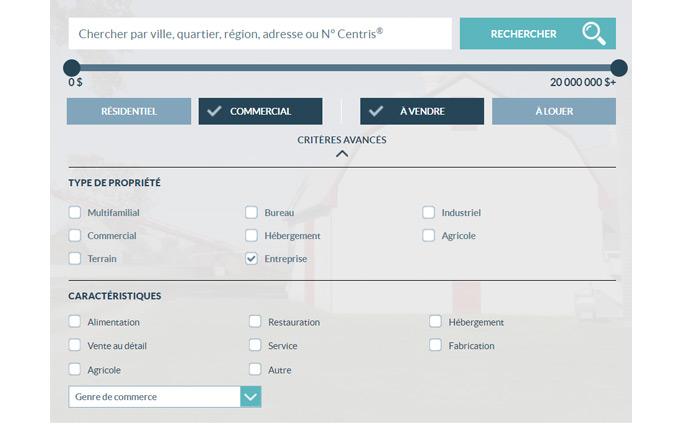 Centris.ca, c'est aussi pour les propriétés commerciales