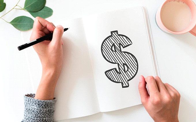Signe de dollard dans un cahier