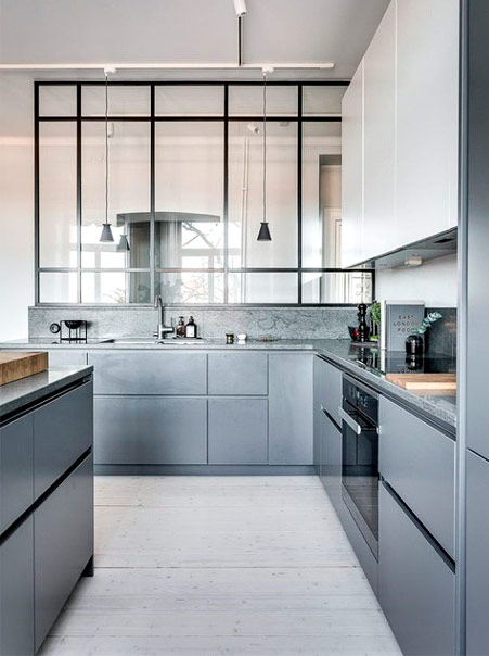 A sleek grey kitchen