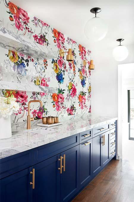 Papier peint motif floral