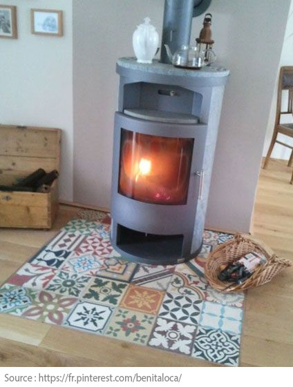 Cement Tiles - Around a fireplace